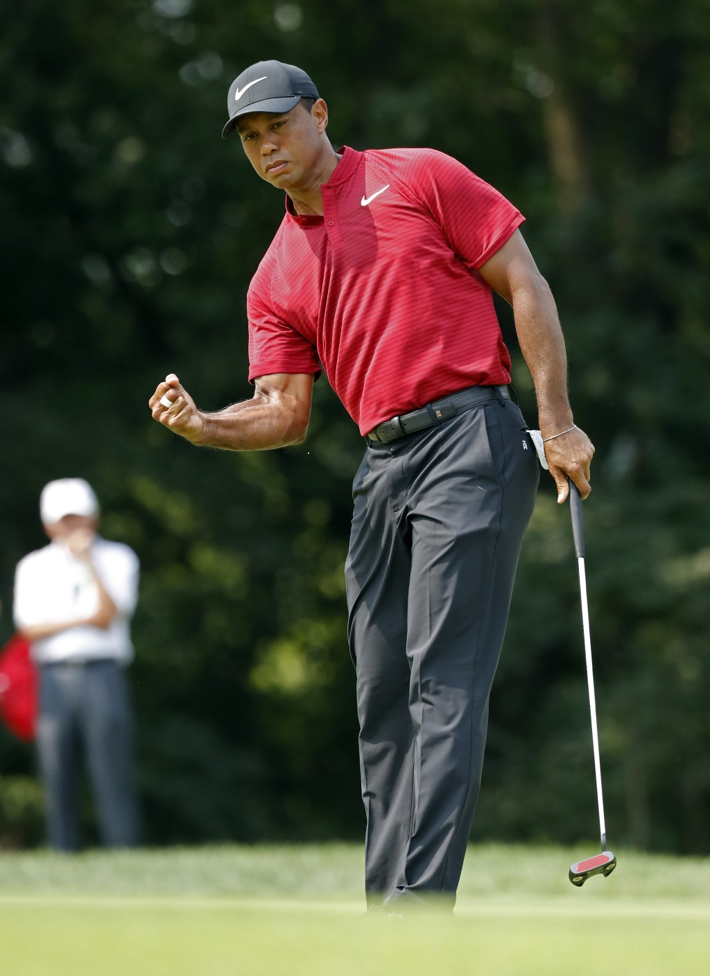Tiger Woods reacts to sinking a birdie putt on the ninth green during the final round of the PGA Championship golf tournament at Bellerive Country Clu...