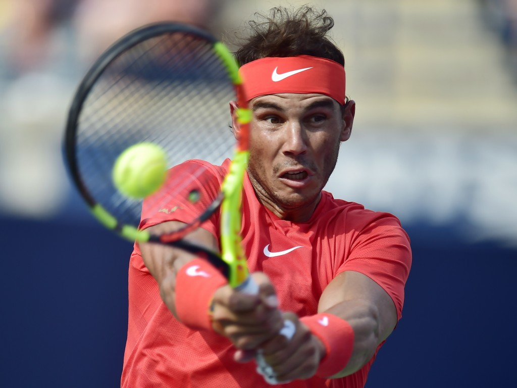 Rafael Nadal of Spain returns to Stefanos Tsitsipas of Greece during championships men's finals Rogers Cup tennis action in Toronto on Sunday, Aug. 12