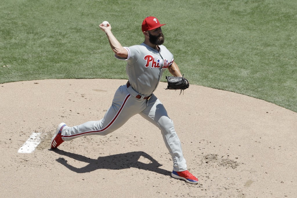 Philadelphia Phillies starting pitcher Jake Arrieta works against a San Diego Padres batter during the first inning 101of a baseball game Sunday, Aug....