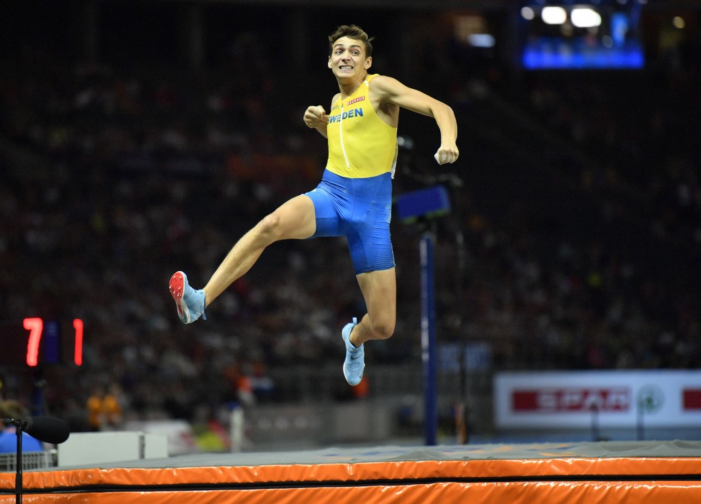 Sweden's Armand Duplantis celebrates after an attempt in the men's pole vault final at the European Athletics Championships in the Olympic stadium in