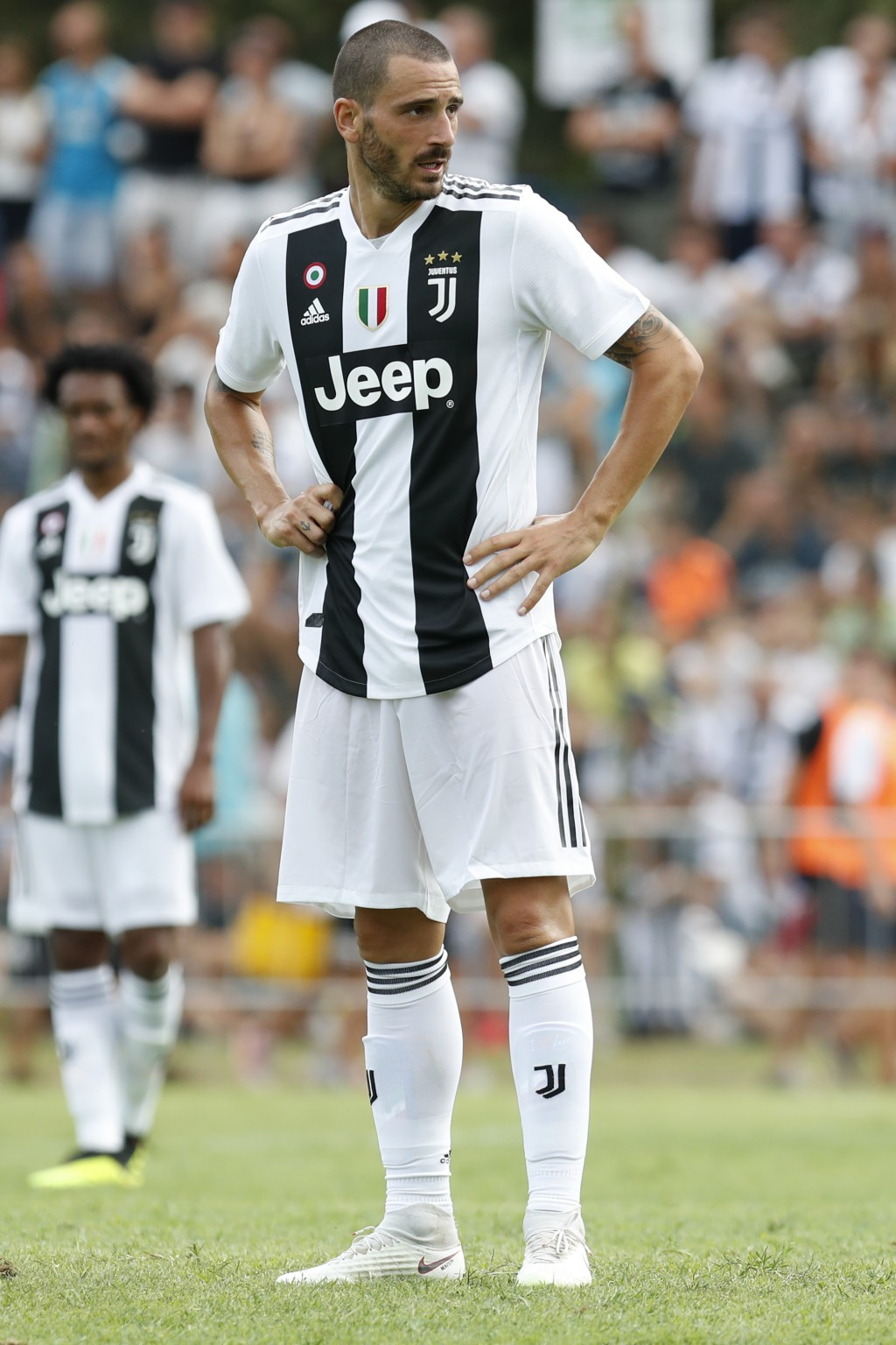 In this Sunday, Aug.12, 2018 file photo Juventus' Leonardo Bonucci participates at a friendly match between the Juventus A and B teams, in Villar Pero...
