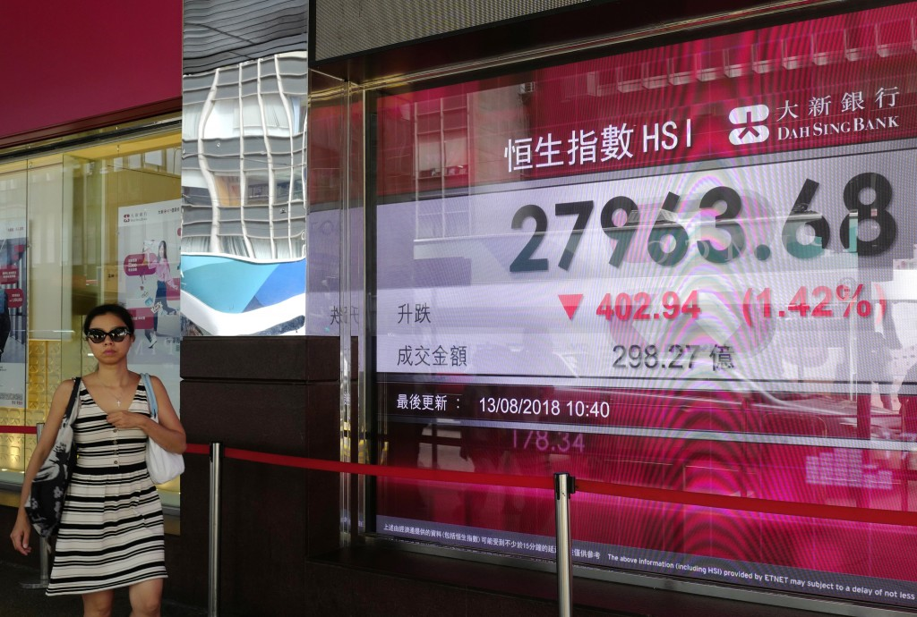 A woman walks past a bank electronic board showing the Hong Kong share index outside a Hong Kong local bank Monday, Aug. 13, 2018. Asian stock prices ...