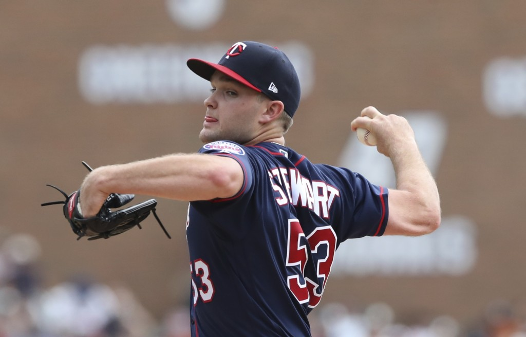 Minnesota Twins starting pitcher Kohl Stewart throws during the first inning of a baseball game against the Detroit Tigers, Sunday, Aug. 12, 2018, in