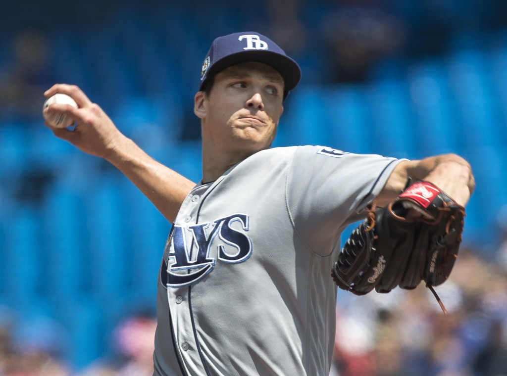 Tampa Bay Rays starting pitcher Tyler Glasnow throws against the Toronto Blue Jays in the first inning of a baseball game in Toronto on Sunday Aug. 12