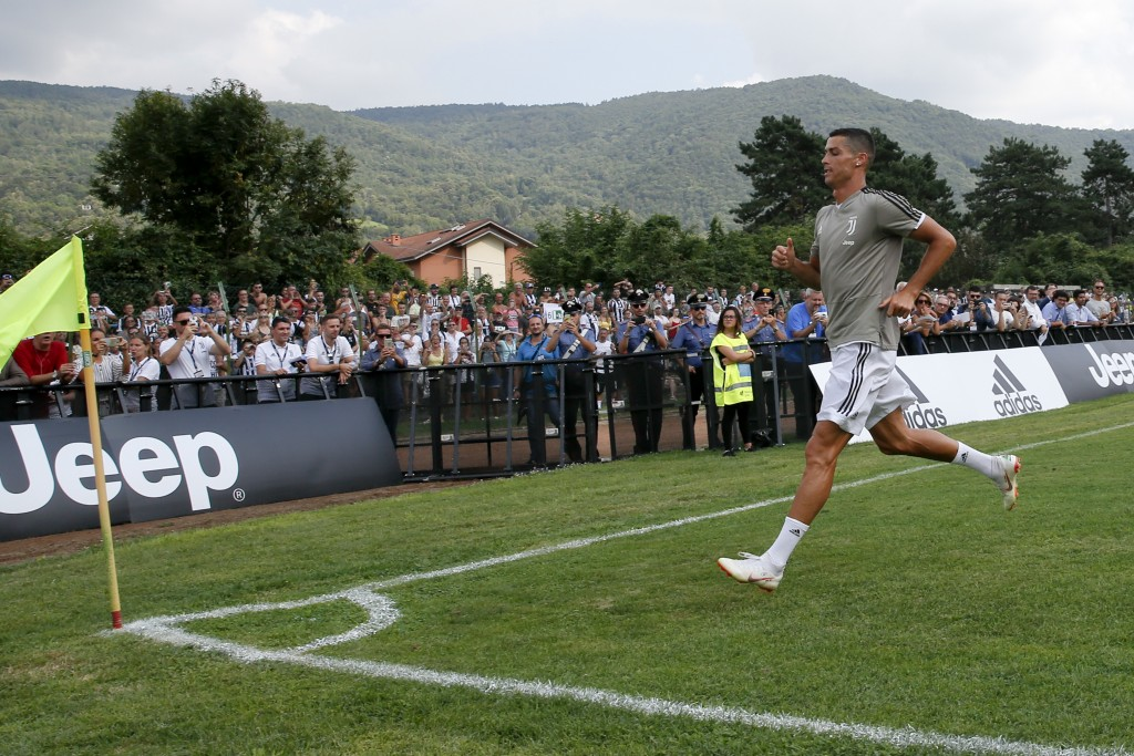 Juventus' Cristiano Ronaldo runs towards a corner of the pitch during a friendly match between the Juventus A and B teams, in Villar Perosa, northern