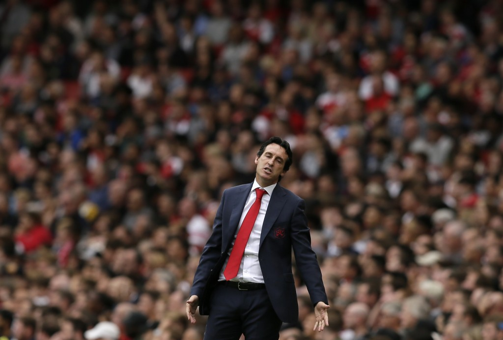 Arsenal manager Unai Emery reacts during the English Premier League soccer match between Arsenal and Manchester City at the Emirates stadium in London