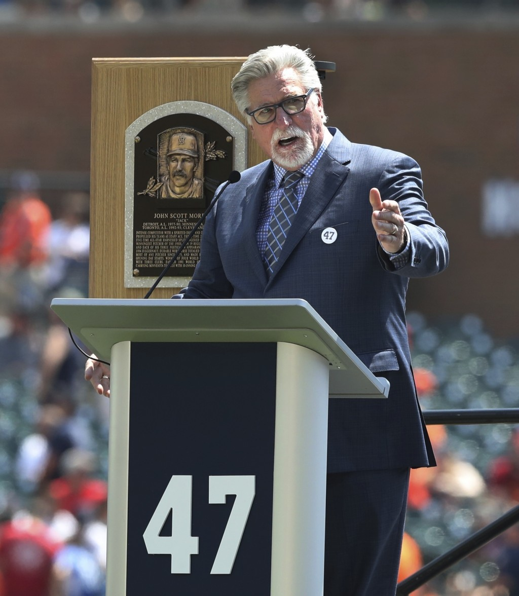 Former Detroit Tigers pitcher and Hall of Fame inductee Jack Morris addresses the crowd before a ceremony where his number was retired before the star