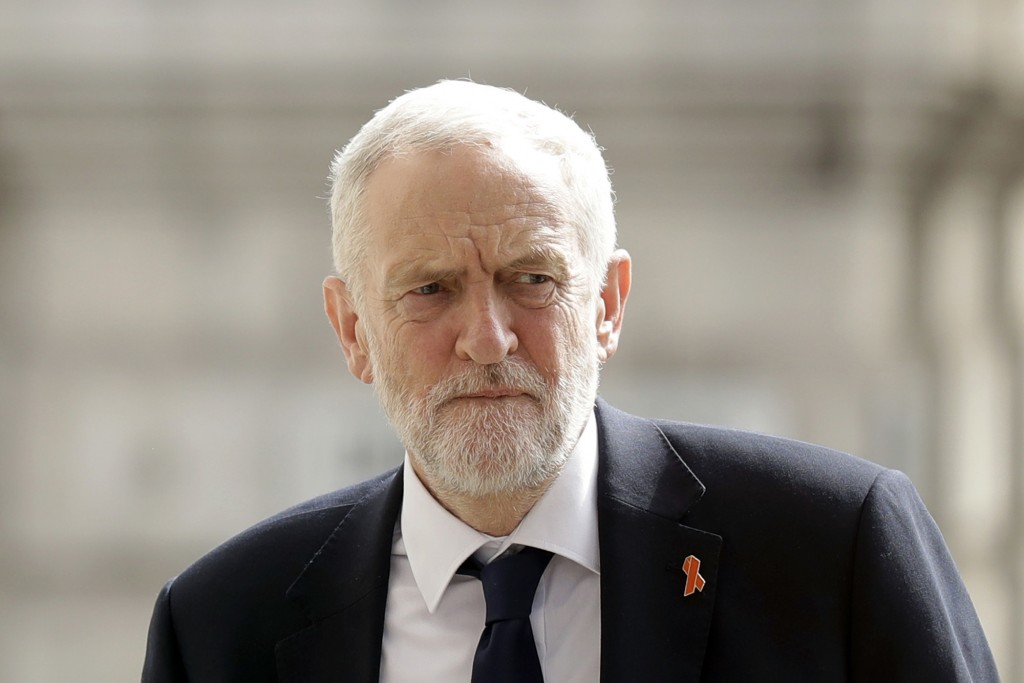 FILE - In this Monday, April 23, 2018 file photo, Britain's opposition Labour party leader Jeremy Corbyn arrives to attend a Memorial Service to comme...