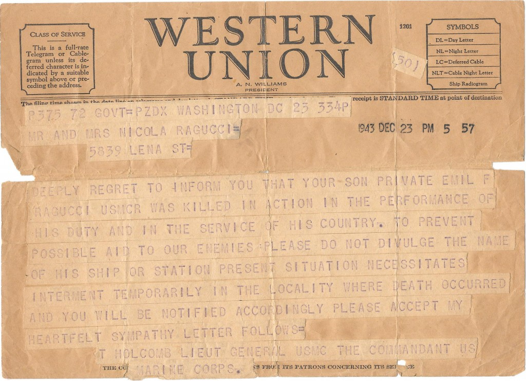 This image shows a Western Union Telegram dated Dec. 23, 1943, announcing that United States Marine Corps Private Emil Ragucci was killed in action du...