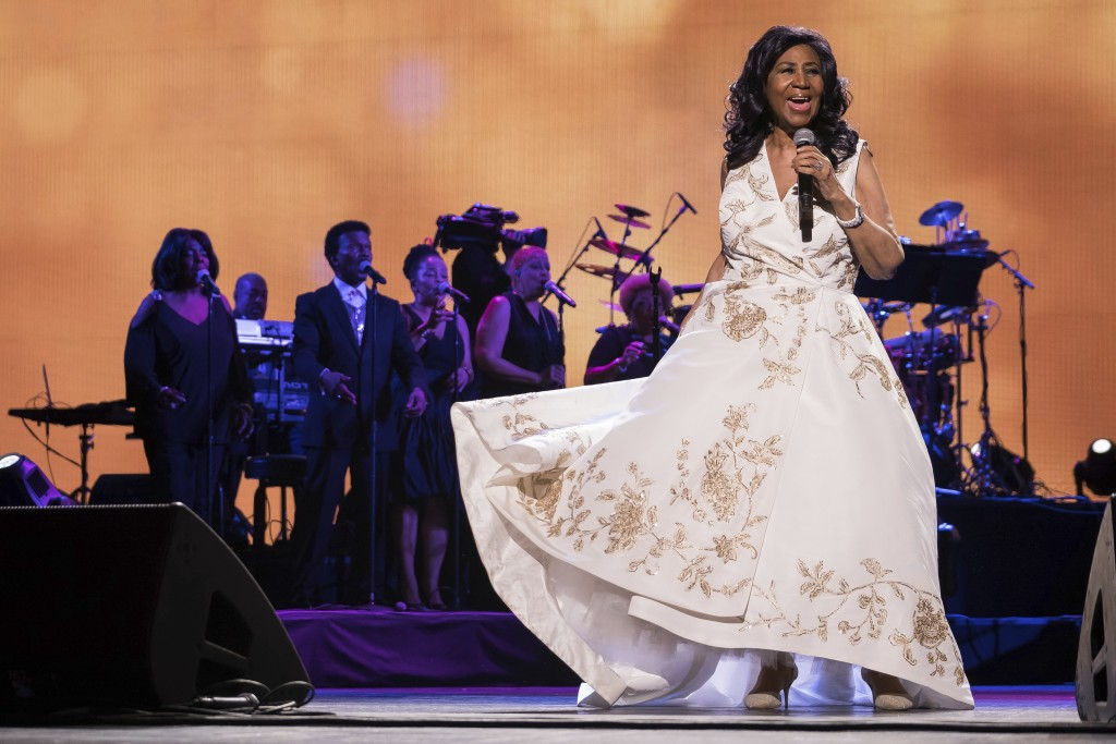 """FILE- In this April 19, 2017 file photo, Aretha Franklin performs at the world premiere of """"Clive Davis: The Soundtrack of Our Lives"""" at Radio City Mu..."""