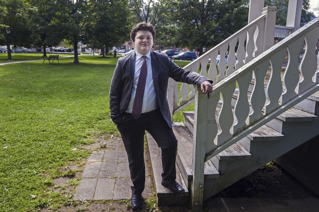 FILE - In this Aug. 24, 2017, file photo, Ethan Sonneborn, of Bristol, Vt., poses for a photo. The teenager is seeking the Democratic nomination to ru...