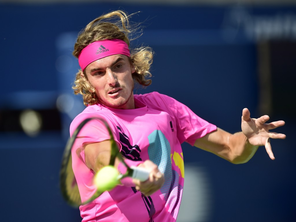 Stefanos Tsitsipas of Greece returns to Rafael Nadal of Spain during championships men's finals Rogers Cup tennis action in Toronto on Sunday, Aug. 12