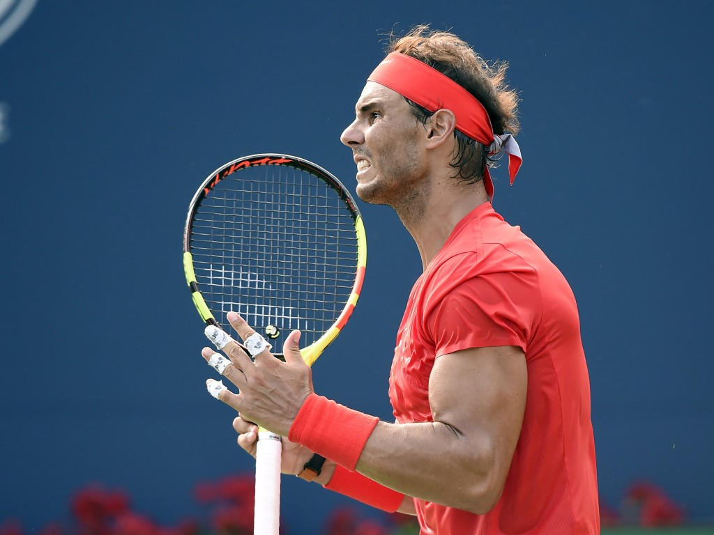 Rafael Nadal, of Spain, reacts after losing a point to Stefanos Tsitsipas, of Greece, during the final of the Rogers Cup men's tennis tournament in To