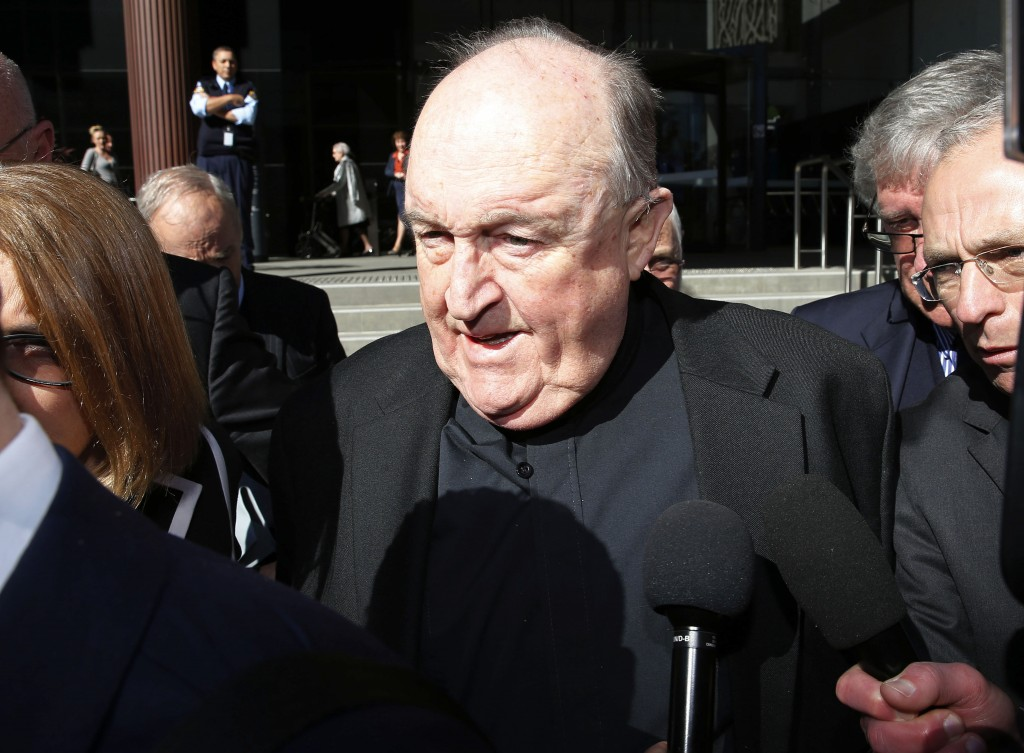 Former Adelaide Archbishop Philip Wilson leaves Newcastle Local Court, in Newcastle, Australia, after a post-sentence decision, Tuesday, Aug. 14, 2018...