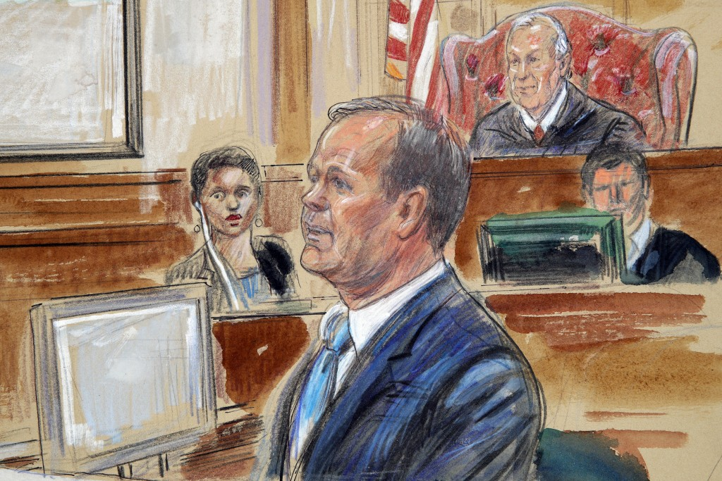 This Aug. 7, 2018, courtroom sketch depicts Rick Gates, right, testifying during questioning in the bank fraud and tax evasion trial of Paul Manafort ...