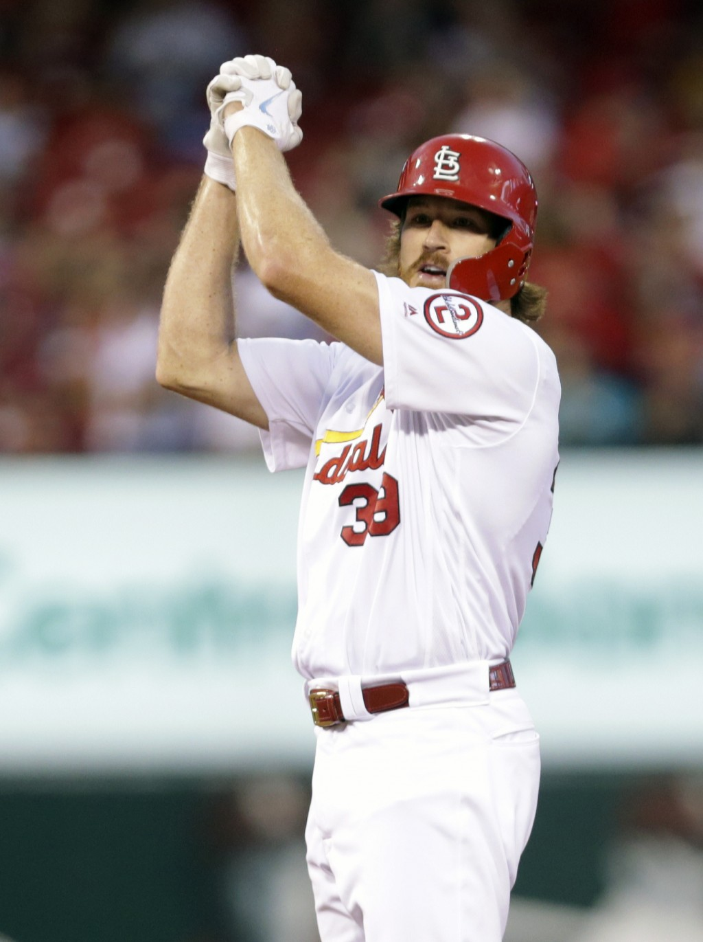 St. Louis Cardinals' Miles Mikolas (39) celebrates after hitting a double in the second inning of a baseball game against the Washington Nationals, Mo...