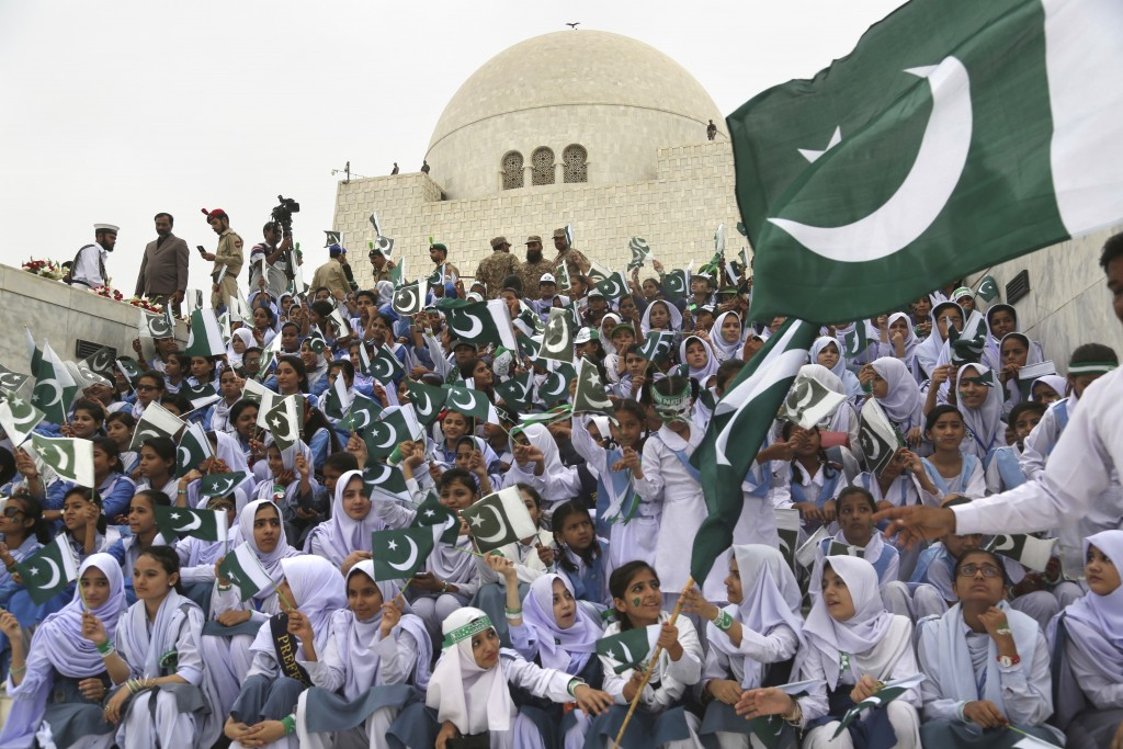 Students visit the mausoleum of Muhammad Ali Jinnah, founder of Pakistan, to celebrate the 71st Independence Day in Karachi, Pakistan, Tuesday, Aug. 1...