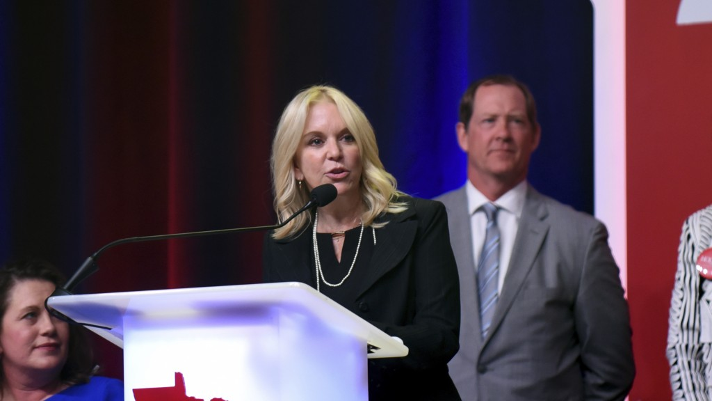 In a Friday, June 1, 2018 photo, Minnesota state Sen. Karin Housley, R-St. Mary's Point, speaks to delegates at the Republican Party of Minnesota conv...