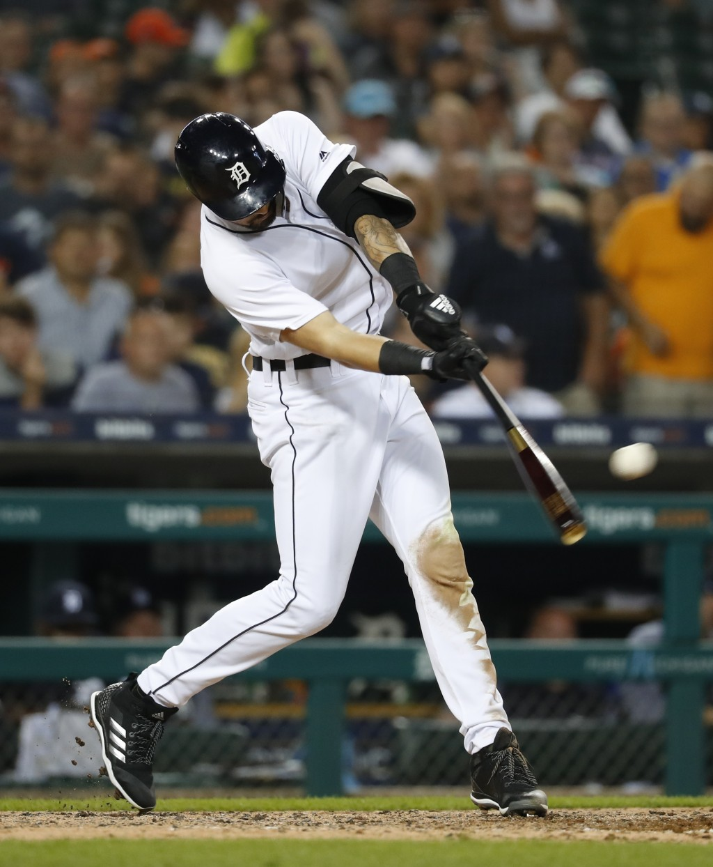 Detroit Tigers' Nicholas Castellanos hits a one-run double in the fifth inning of a baseball game against the Chicago White Sox in Detroit, Monday, Au...