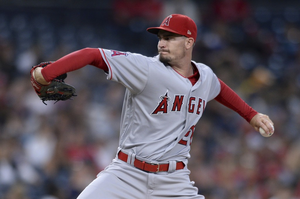Los Angeles Angels starting pitcher Andrew Heaney works against a San Diego Padres batter during the second inning of a baseball game Monday, Aug. 13,...