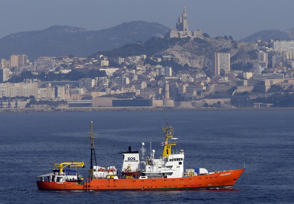 "FILE - In this Aug.1, 2018 file photo, the French NGO ""SOS Mediterranee"" Aquarius ship leaves the Marseille harbor, southern France. he European Commi..."