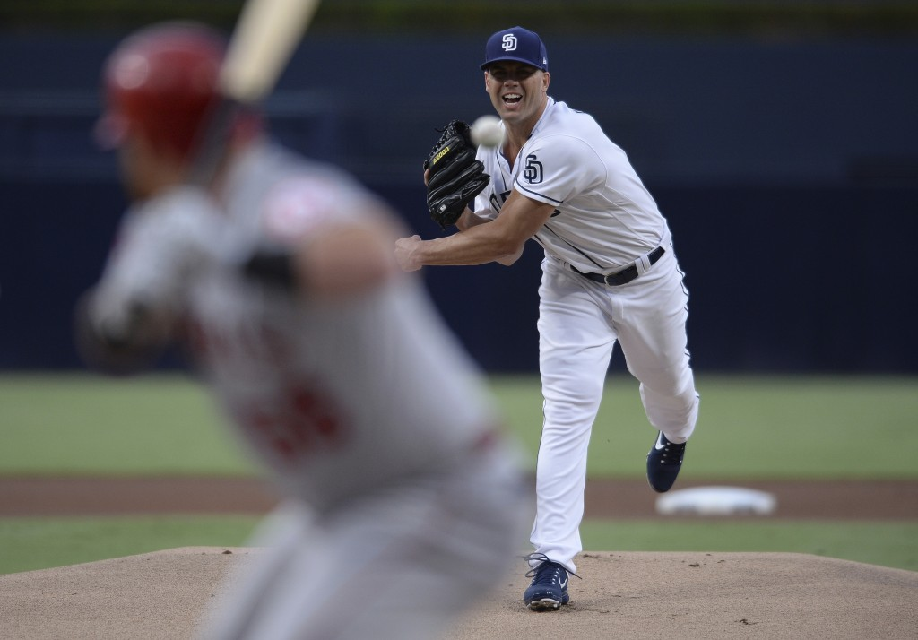 San Diego Padres starting pitcher Clayton Richard works against a Los Angeles Angels batter during the first inning of a baseball game Monday, Aug. 13...