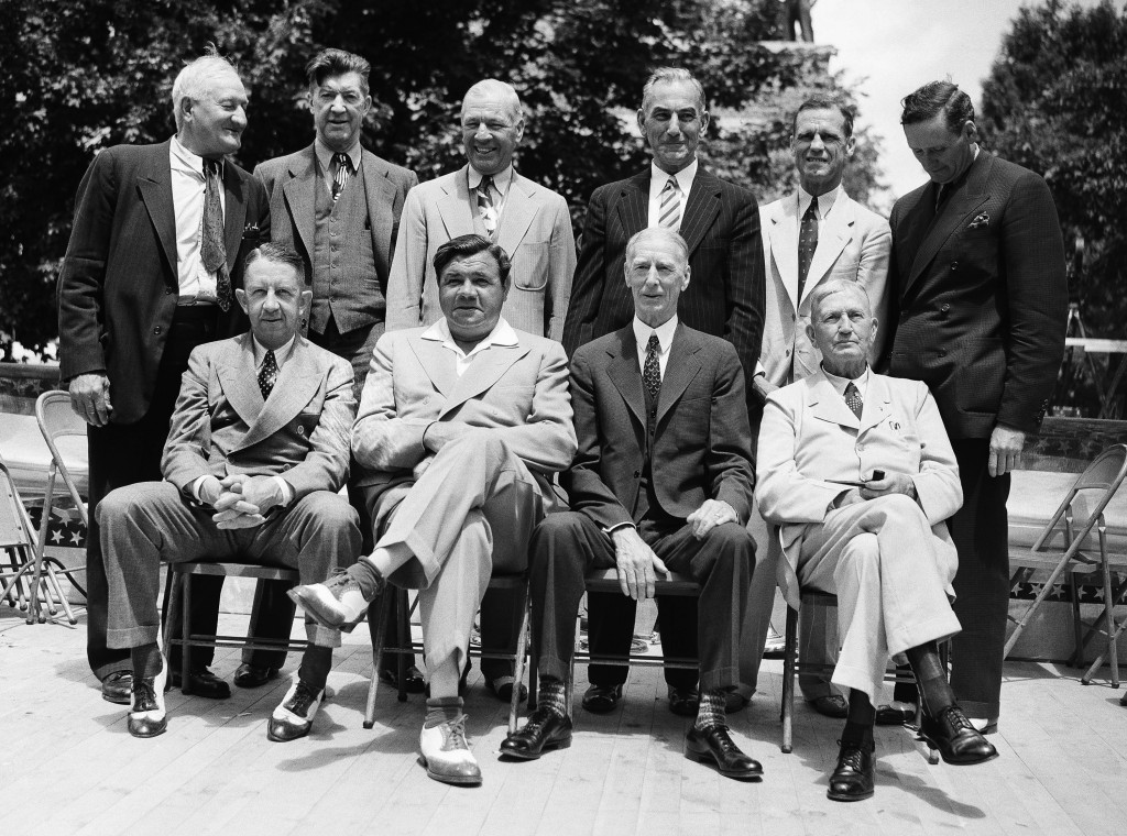 File - In this June 12, 1939 file photo, these baseball stars were pictured as they attended the dedication and their induction into the Baseball Hall...