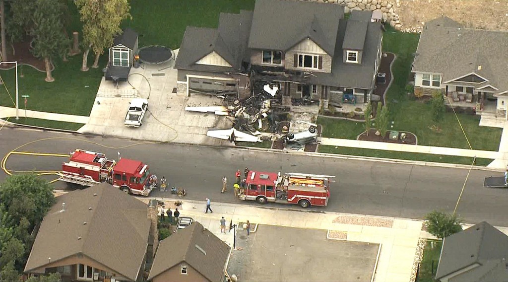 Utah pilot dies after crashing plane into his own home