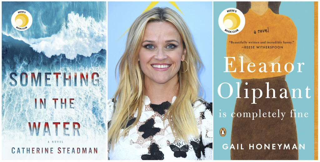 This combination of photos shows actress Reese Witherspoon, center, with two cover images of novels she selected for her book club, Something In The W...