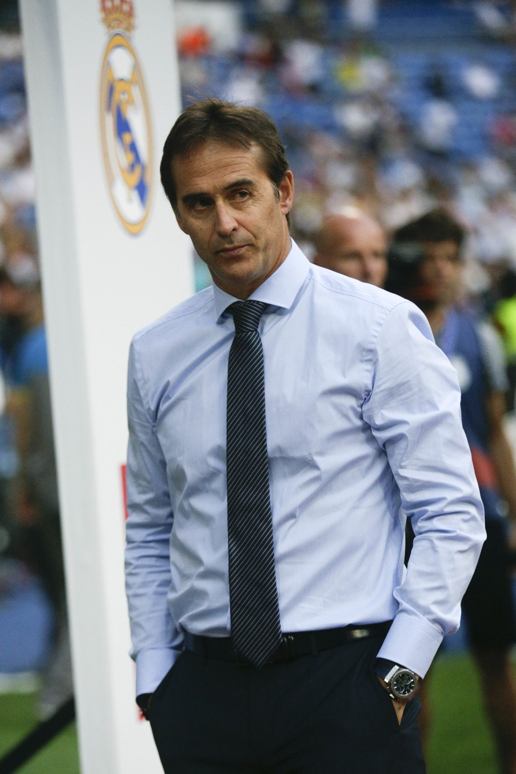 FILE - In this Saturday, Aug. 11, 2018 file photo, Real Madrid's head coach Julen Lopetegui waits for the start of the Santiago Bernabeu trophy soccer...