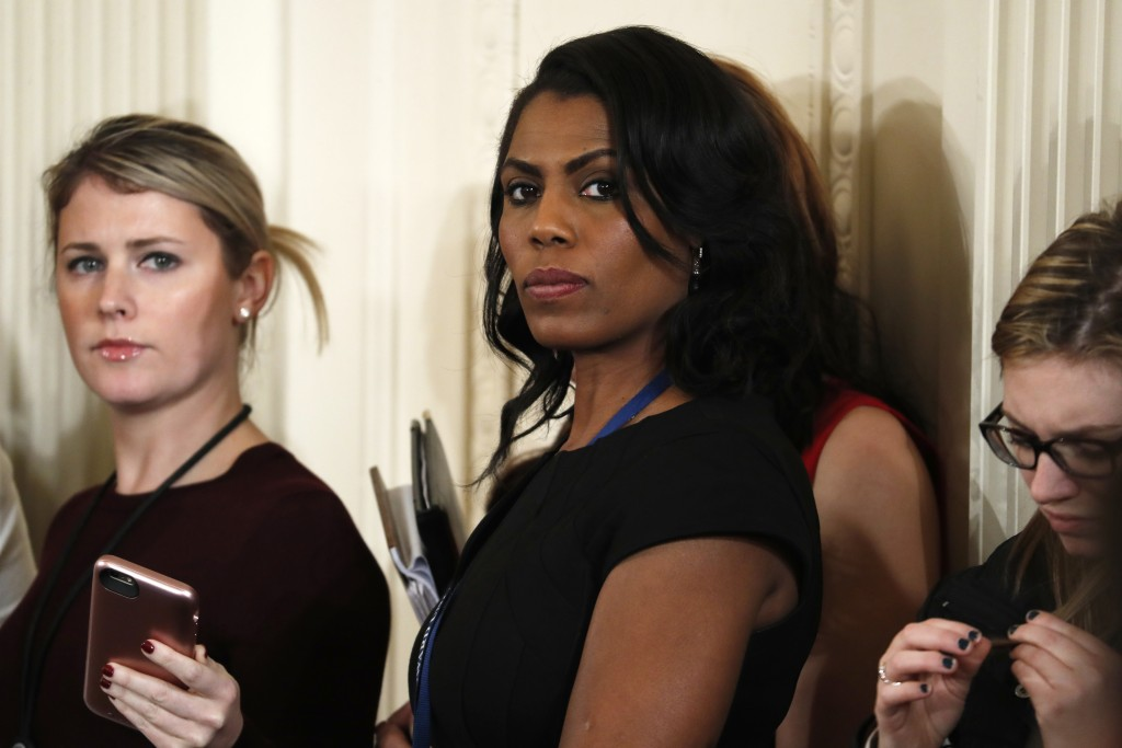 FILE - In this Feb. 13, 2017 file photo, White House Director of communications for the Office of Public Liaison Omarosa Manigault waits for the start...