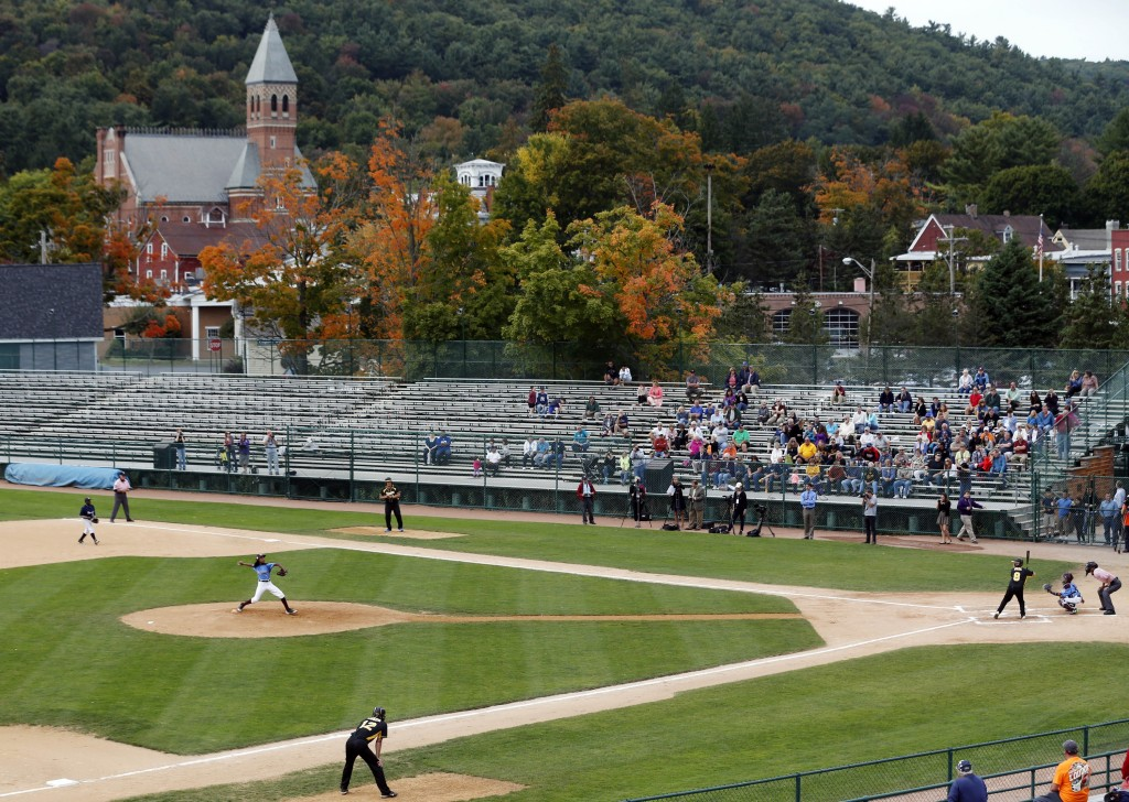 FILE - In this Sept. 25, 2014, file photo, an exhibition baseball game is played at Doubleday Field in downtown Cooperstown, N.Y., near the National B...
