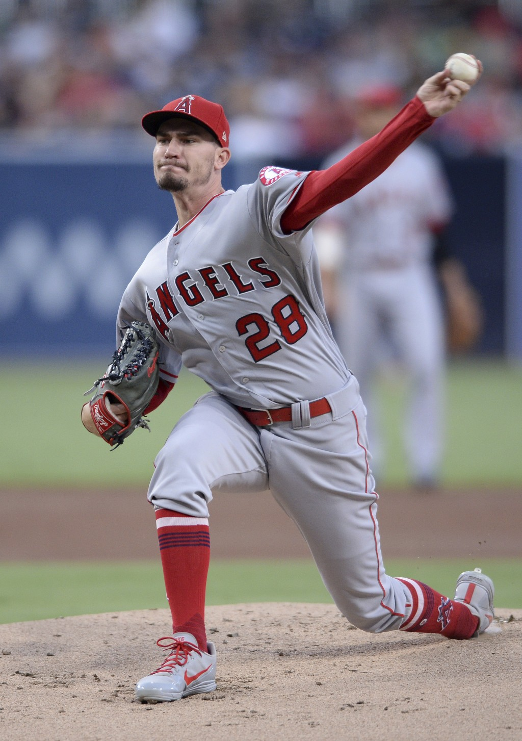Los Angeles Angels starting pitcher Andrew Heaney works against a San Diego Padres batter during the first inning of a baseball game Monday, Aug. 13, ...