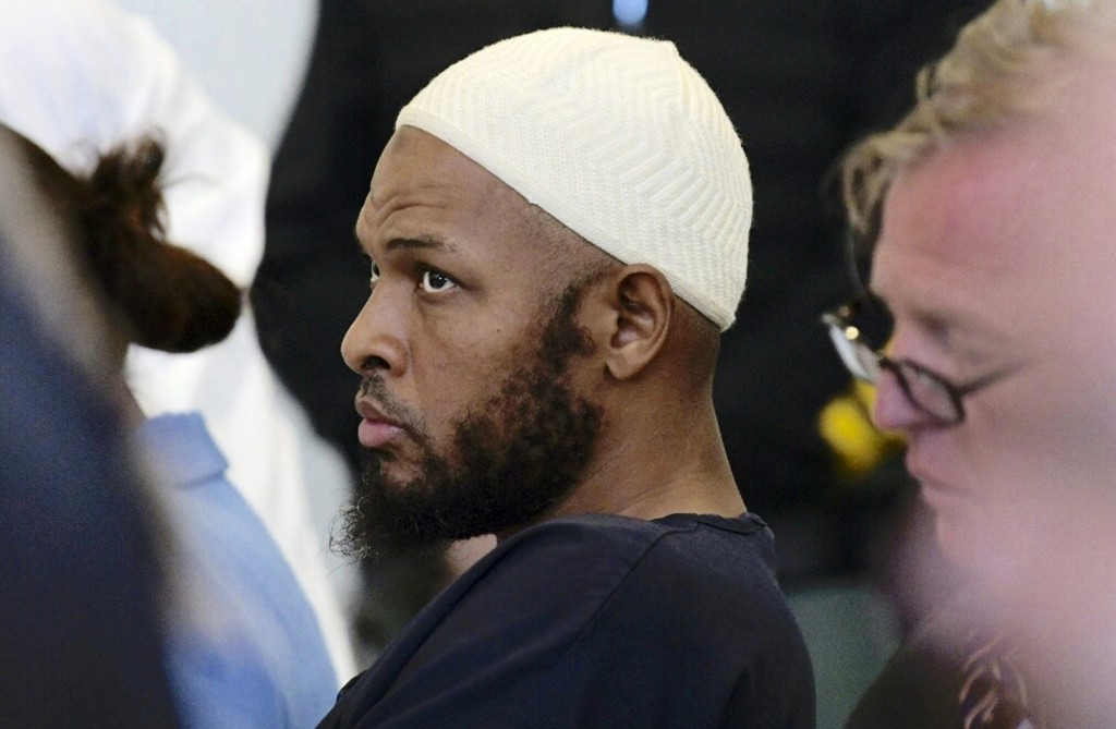 Defendant Siraj Wahhaj sits in court in Taos, N.M., for a detention hearing, Monday, Aug. 13, 2018. Wahhaj and several others have been charged with c...