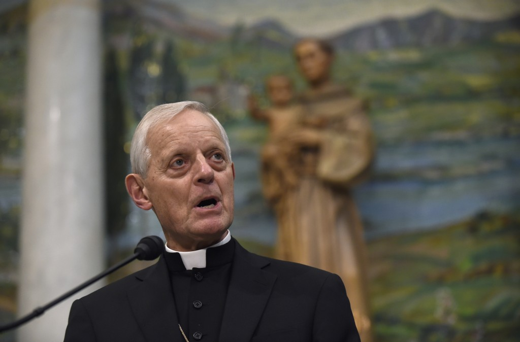 FILE – In this June 30, 2015, file photo, Cardinal Donald Wuerl, archbishop of Washington, speaks while outlining the schedule for Pope Francis' Septe...