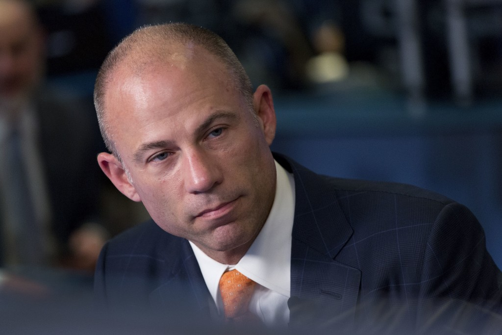 FILE - In this May 10, 2018 file photo, Michael Avenatti is interviewed on the Cheddar network, Thursday, May 10, 2018, in New York. Avenatti, the att...