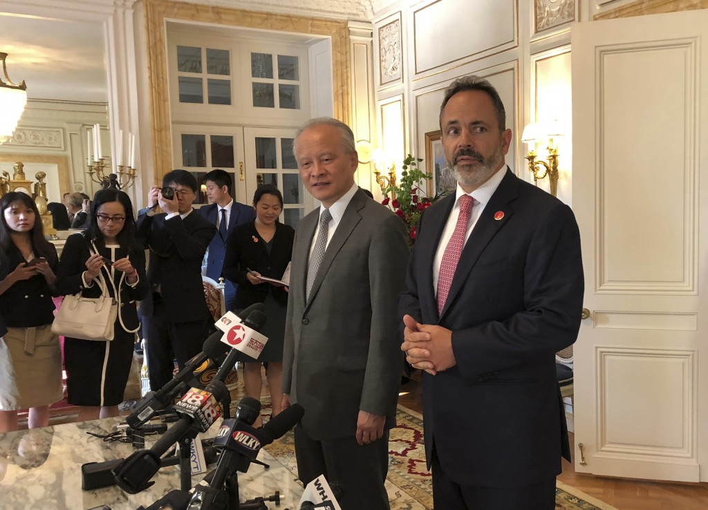Kentucky Gov. Matt Bevin, right, and Chinese Ambassador to the United States Cui Tiankai speak with reporters at the Governor's Mansion on Monday, Aug...