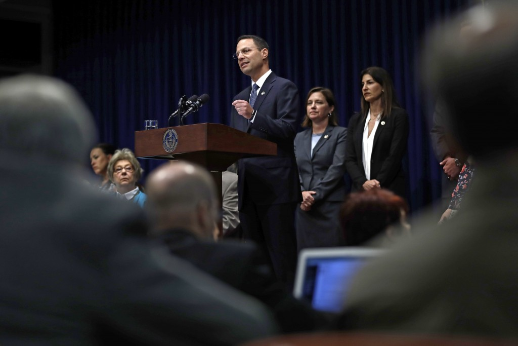 Pennsylvania Attorney General Josh Shapiro speaks during a news conference at the Pennsylvania Capitol in Harrisburg, Pa., Tuesday, Aug. 14, 2018. A P...