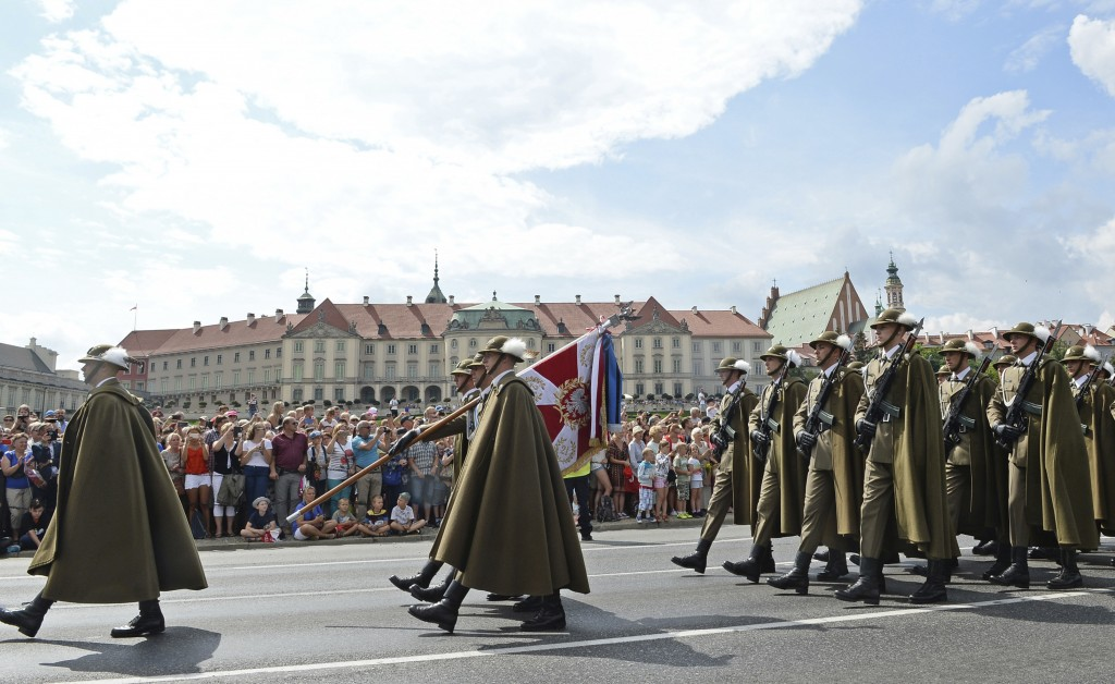 Polish Army soldiers march on one of the city's main streets during a yearly military parade celebrating the Polish Army Day in Warsaw, Poland, Wednes...