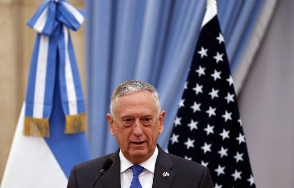 U.S. Secretary of Defense Jim Mattis talks during a press conference at the Defense Minstry in Buenos Aires, Argentina Wednesday, Aug. 15, 2018. Matti...