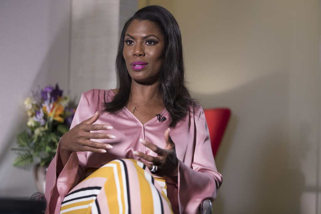 Former White House staffer Omarosa Manigault Newman speaks during an interview with The Associated Press, Tuesday, Aug. 14, 2018, in New York. Manigau...