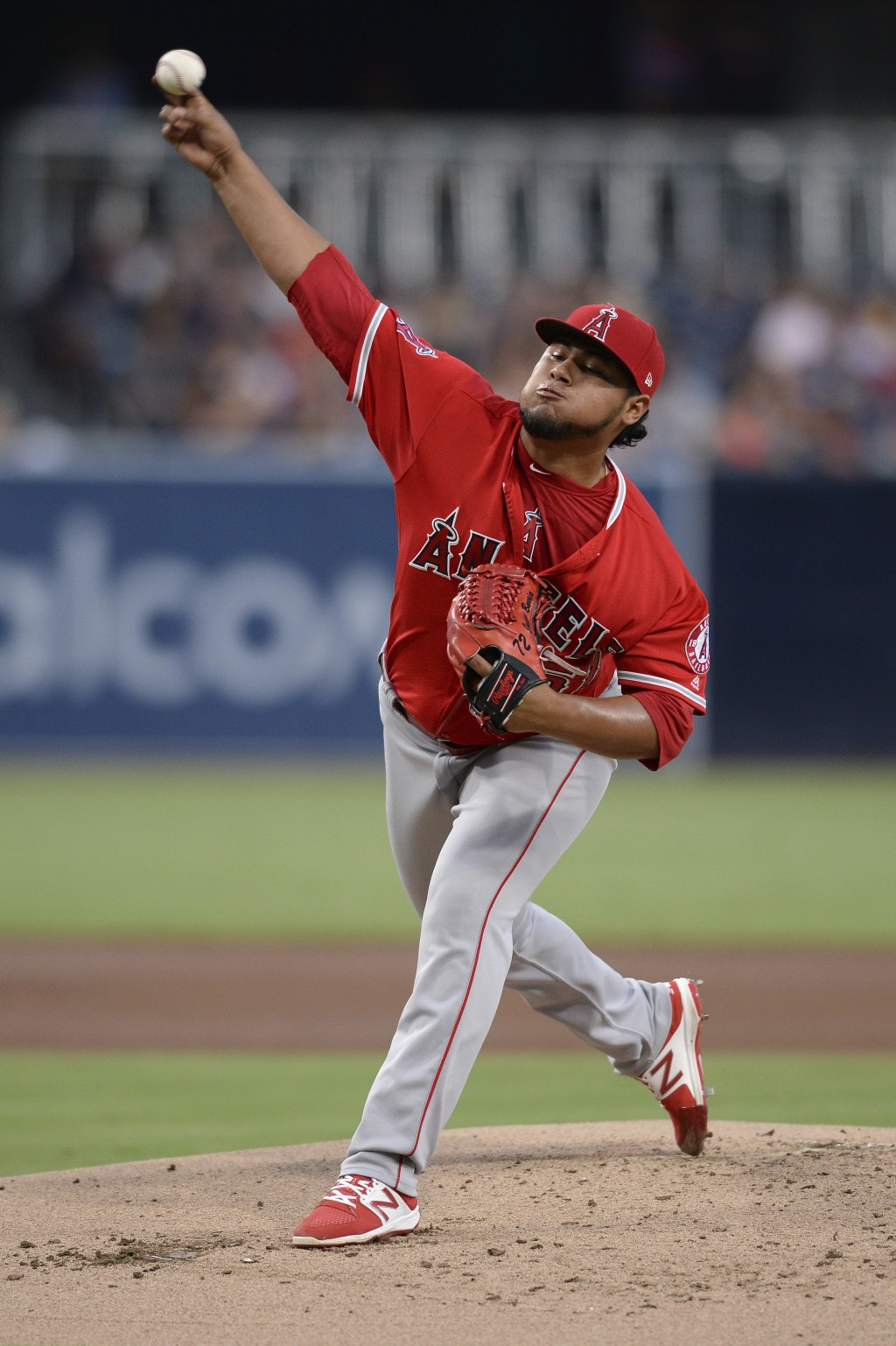 Los Angeles Angels starting pitcher Jaime Barria works against a San Diego Padres batter during the first inning of a baseball game Tuesday, Aug. 14, ...