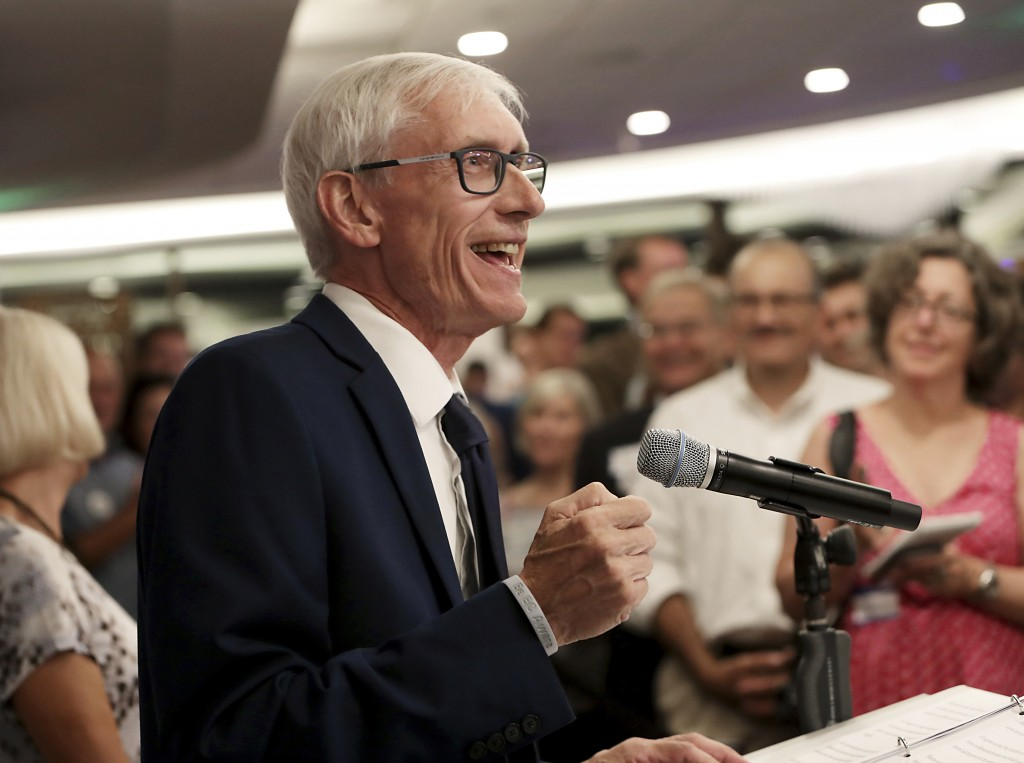 Tony Evers speaks after his win in Wisconsin's Democratic gubernatorial primary election during an event at Best Western Premier Park Hotel in Madison...