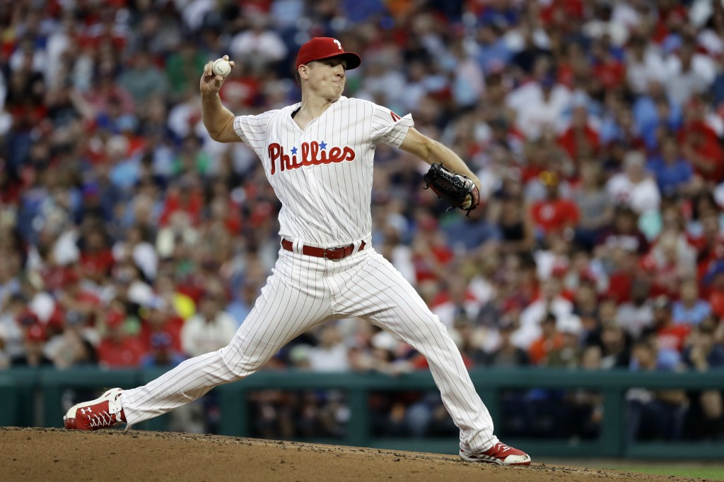 Philadelphia Phillies' Nick Pivetta pitches during the third inning of a baseball game against the Boston Red Sox, Tuesday, Aug. 14, 2018, in Philadel...