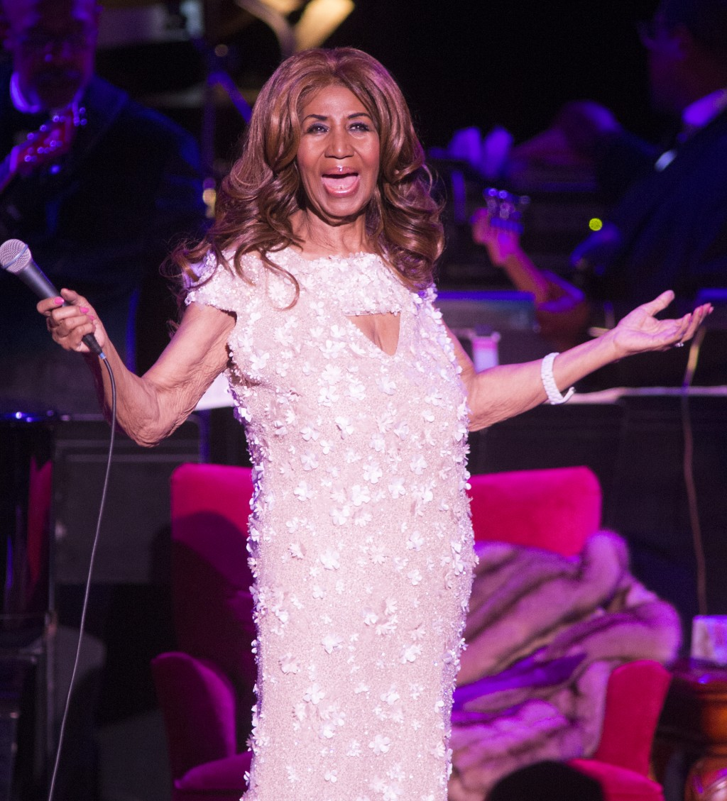 FILE - In this Aug. 26, 2017 file photo, Aretha Franklin performs in concert at The Mann Center for the Performing Arts in Philadelphia. Franklin died...