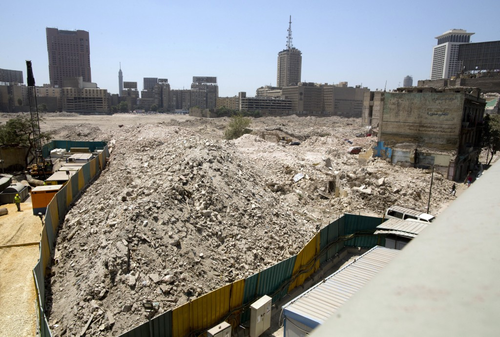 In this Monday, Aug. 13, 2018 photo, debris is all that is left of the Maspero neighborhood in downtown Cairo, Egypt. Egyptian authorities are demolis...