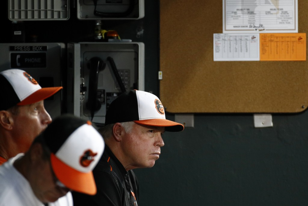 Baltimore Orioles manager Buck Showalter, right, sits in the dugout in the fourth inning of a baseball game against the New York Mets, Tuesday, Aug. 1...