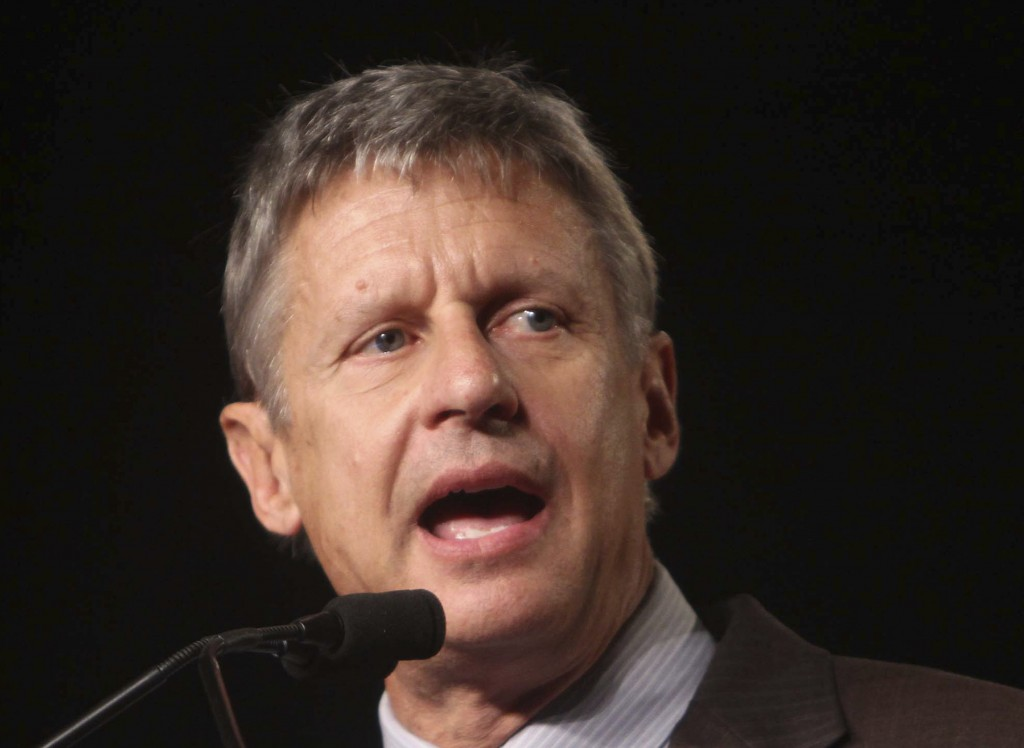 FILE - In this Sept 23, 2011 file photo, Libertarian Party presidential candidate, former New Mexico Gov. Gary Johnson speaks in Orlando, Fla. Former ...