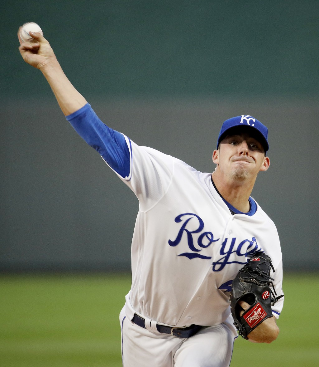 Kansas City Royals starting pitcher Heath Fillmyer throws during the first inning of a baseball game against the Toronto Blue Jays Tuesday, Aug. 14, 2...