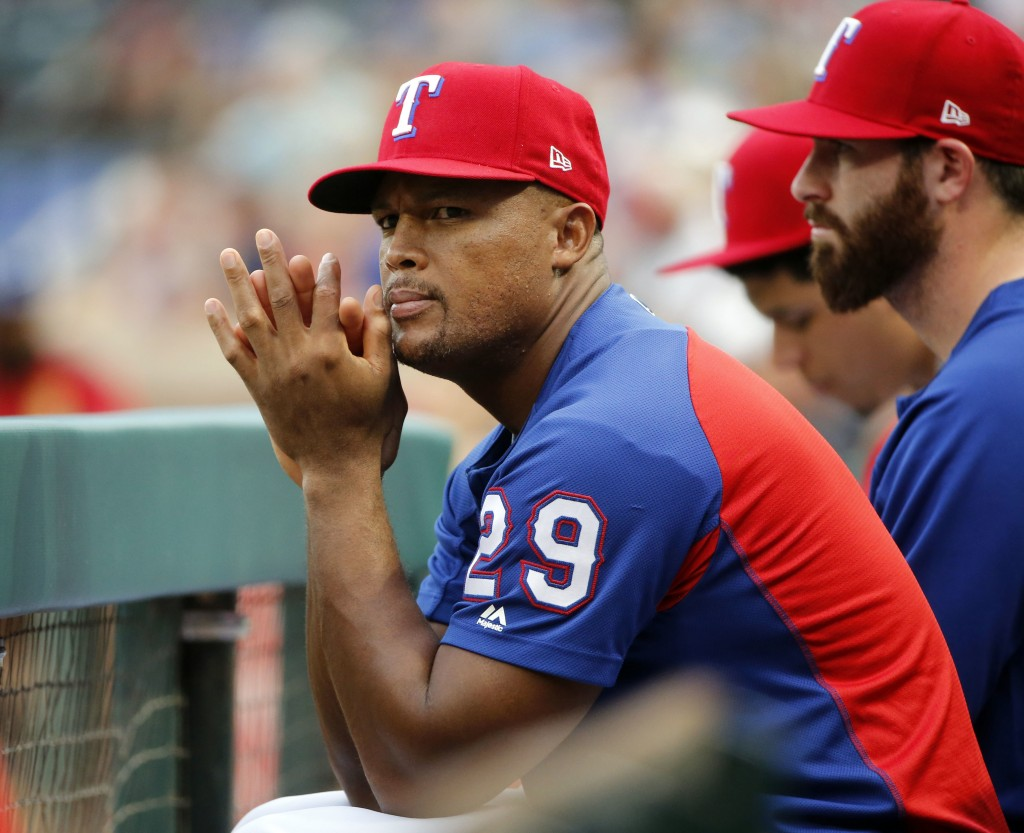 Texas Rangers' Adrian Beltre (29) watches at the team played against the Arizona Diamondbacks during the first inning of a baseball game Tuesday, Augu...